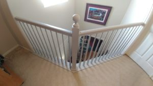stair rail painting, banister painting services, cabinet painting denver